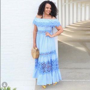 Venus Gingham off the Shoulder Dress